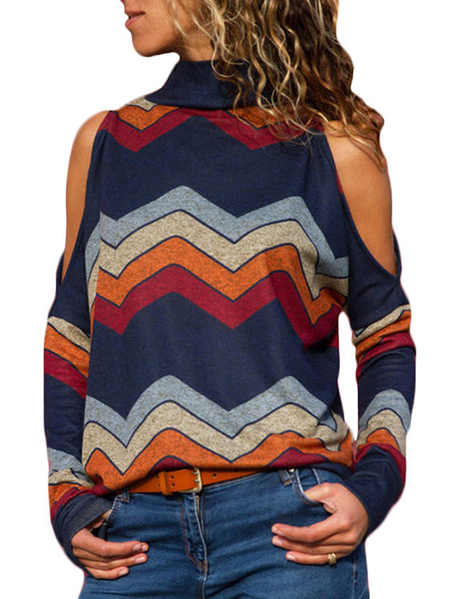 Navy Color Block Stripe Cold Shoulder Long Sleeves Turtleneck Tee