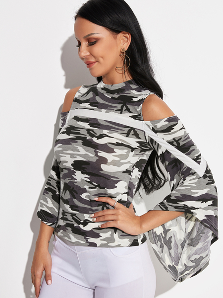 Camouflage Button Keyhole Design Cold Shoulder Bell Sleeves Blouses