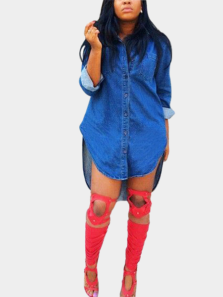 Denim Shirt Dress with High-low Curved Hem