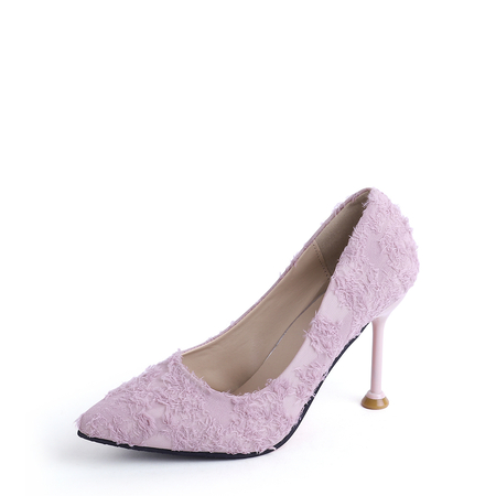 Pink Feather Decor Wedding Party Heels