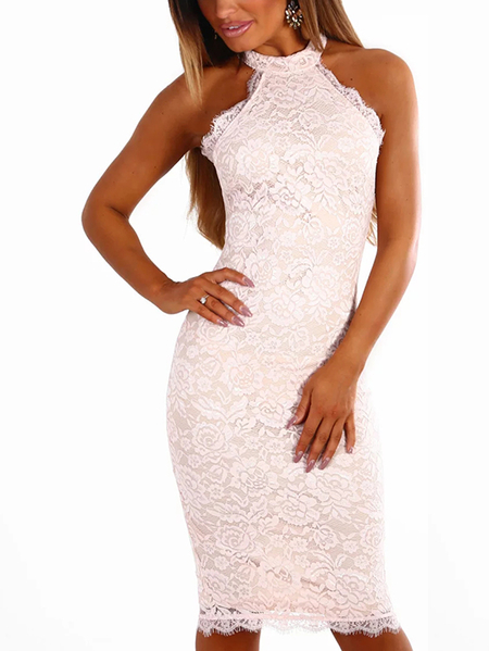 Nude Halter Neck Delicate Lace Bodycon Midi Dress