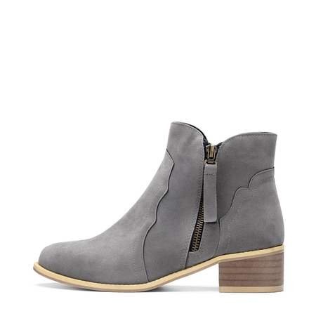 Grey Fashion Side Zipper Design Ankle Boots
