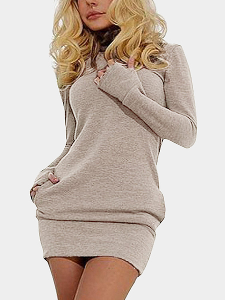 Beige Roll Neck Casual Dress with Two Side Pockets