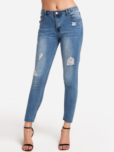 Light Blue Ripped Bodycon Long Jeans