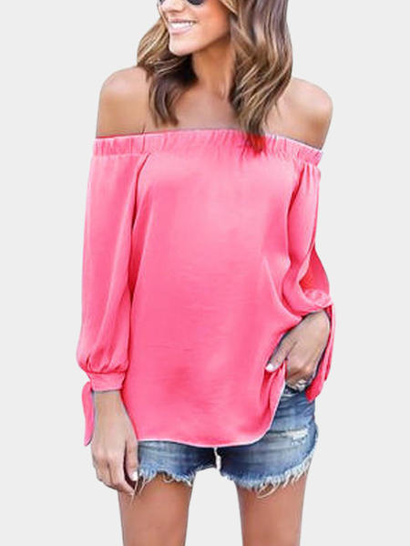 Pink Tie At Cuffs Off Shoulder Long Sleeves Blouse