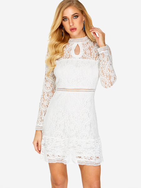 White Lace Design Crew Neck Long Sleeves Dress