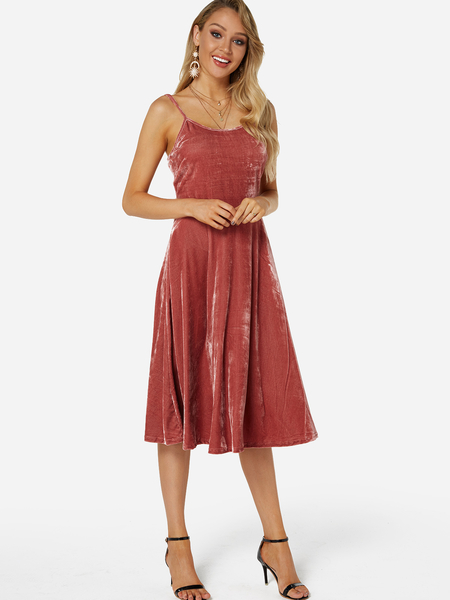 Pink Gold Velvet Lace-up Design Backless Midi Dresses