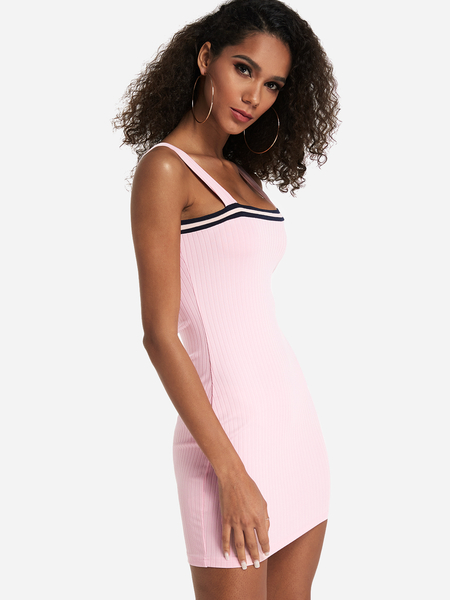 Pink Ribbed Off The Shoulder Spaghetti Dress