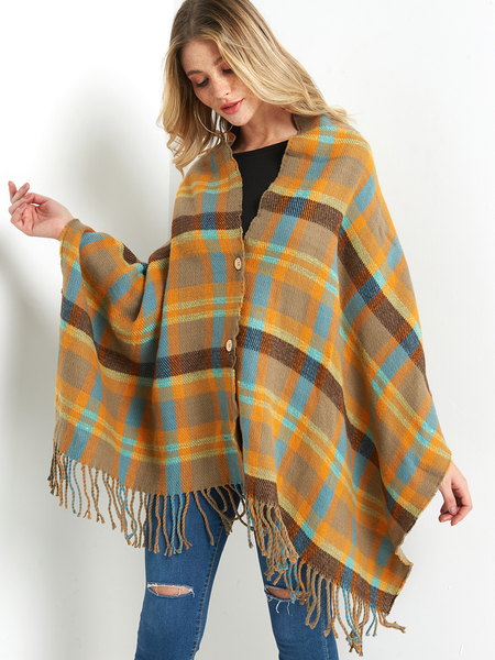 Khaki Plaid Button Detail Fringe Hem Cape