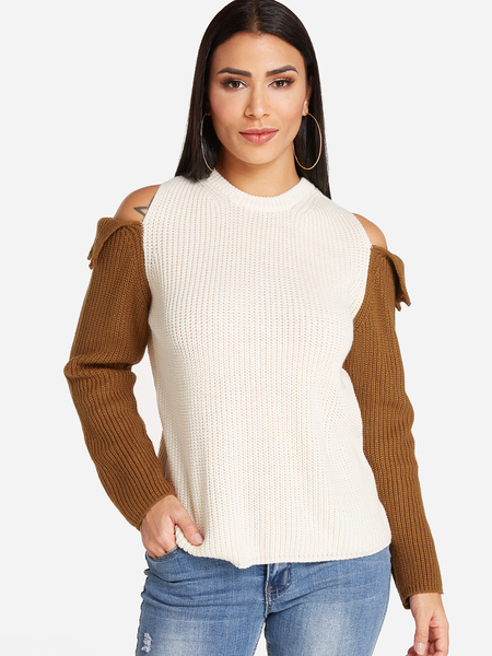 Beige Cold Shoulder Fashion Thick Sweater