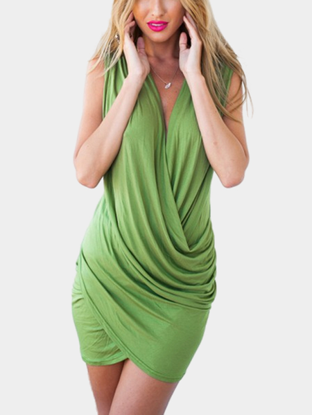 Sleeveless Wrap Front Mini Party Dress in Apple-green