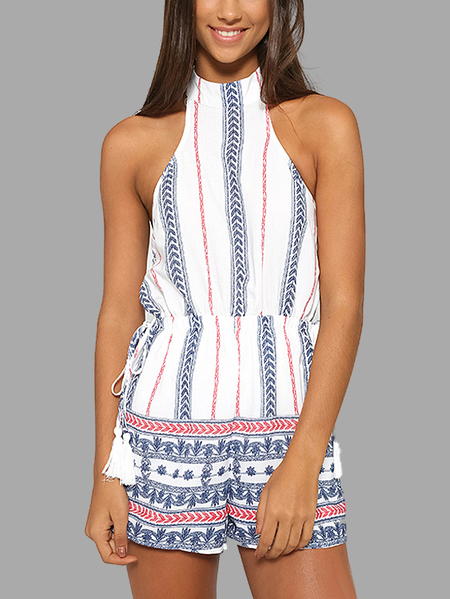Geometrical Pattern Open Back Playsuit with Tassel Detail