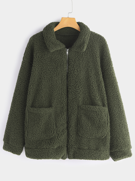Plus Size Green Pocket Design Faux Fur Coat