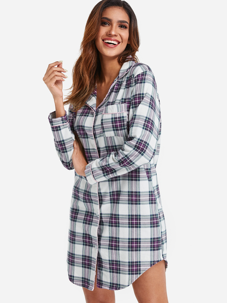 Button Up Curvede Hem Grid Shirt Nightdress