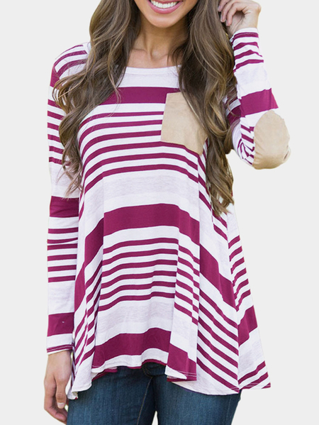 Plum Stripe Pattern Round Neck Long Sleeves Loose Casual T-shirt