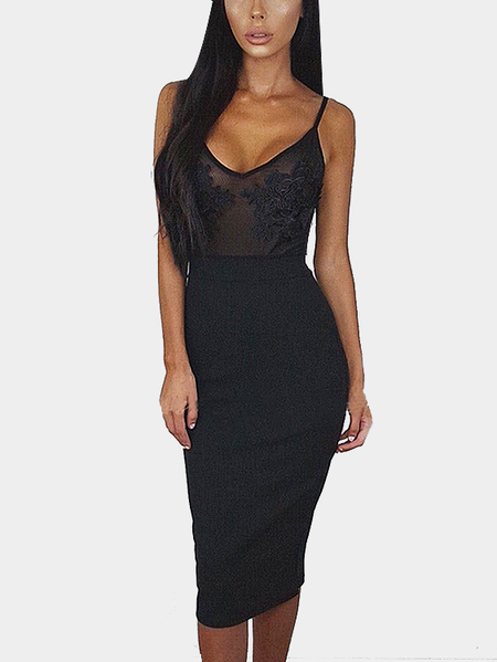 Black Casual See-through Embroidered Front Spaghetti Dress