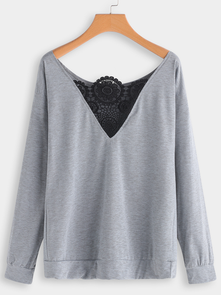 Grey Lace Insert One Shoulder Long Sleeves T-shirts
