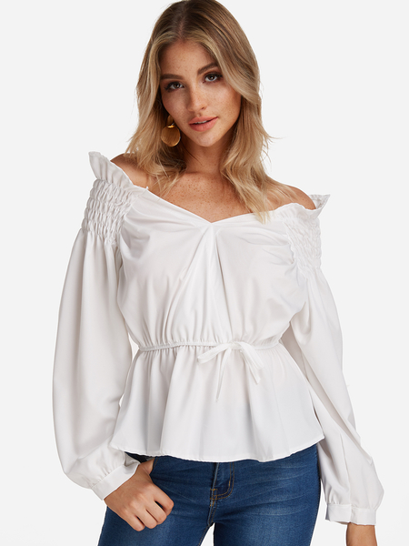White Pleated Design V-neck Lantern Sleeves Blouses With Stretch Waistband