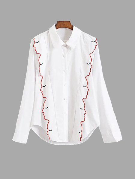 White Shirt With Embroidery Pattern