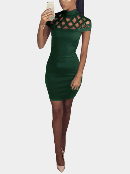 Green Sexy Hollow Details Sleeveless Party Dress