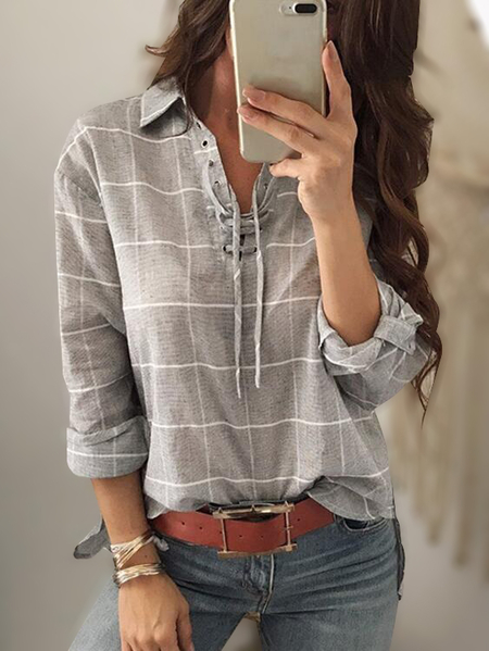 Grey Grid Pattern Criss-cross Front Long Sleeves Shirt