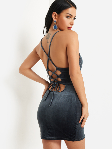 Grey Backless Criss-cross Velvet Bodycon Dress