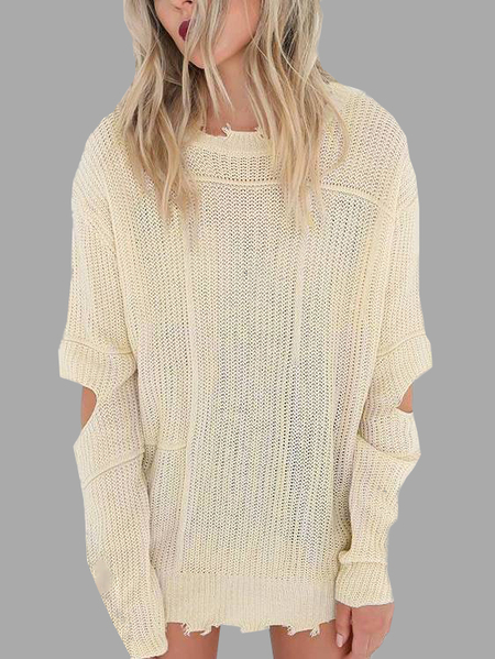 Beige Cut Out Long Sleeves Sweater