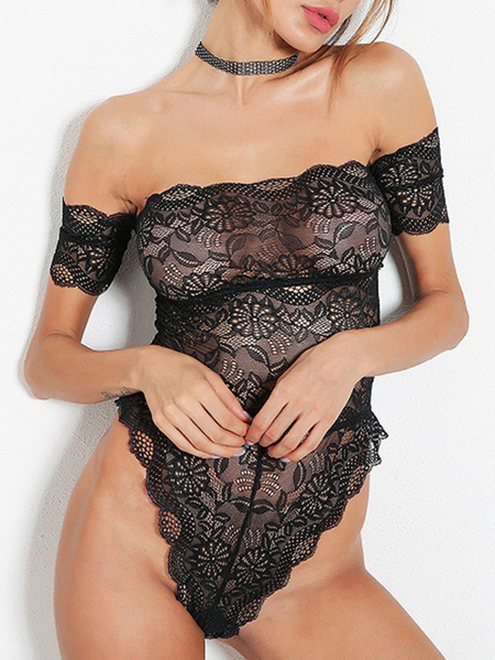 Black Lace Off The Shoulder Sexy Bodysuit
