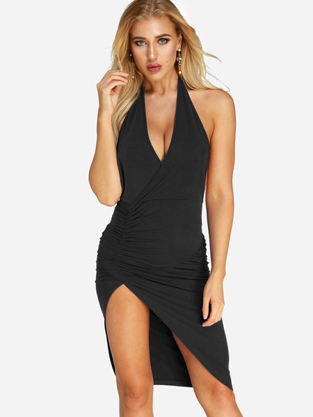 Black Sexy V Neck Backless Design Halter Splited Hem Mini Dress