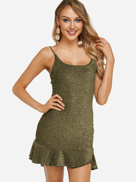 Gold Bright silk Design Scoop Neck Flounced Hem Spaghetti Strap Dress