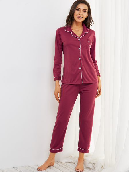 Burgundy Button Down Pocket Front Long Sleeves Pajama Set