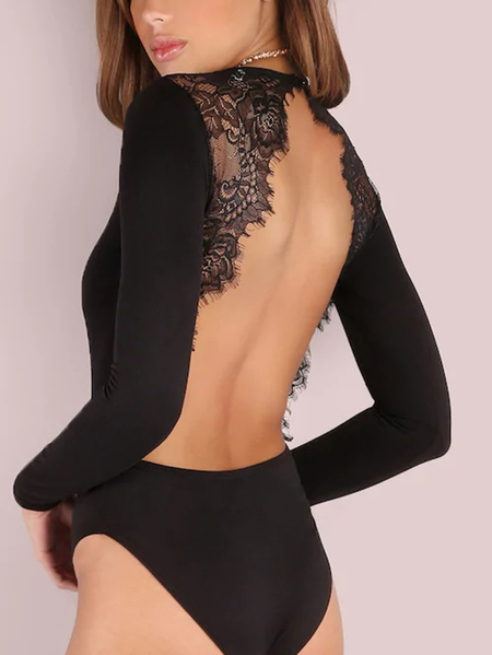 Black Crew Neck Long Sleeves Backless Lace Eyelash Trim Teddy Lingerie