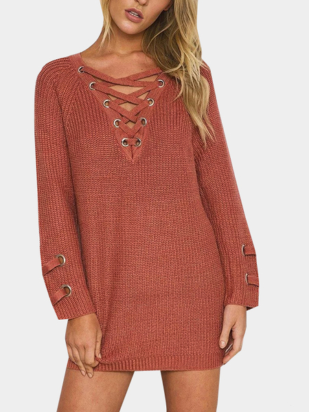 Lace-up Knit Long Raglan Sleeves Sweater Dress