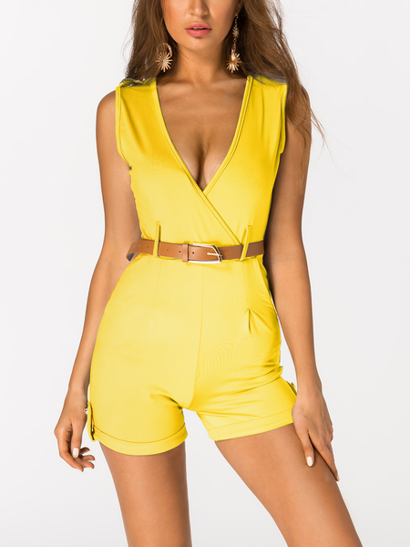 Yellow Crossed Front Design V-neck Sleeveless Sexy Playsuit With Belt