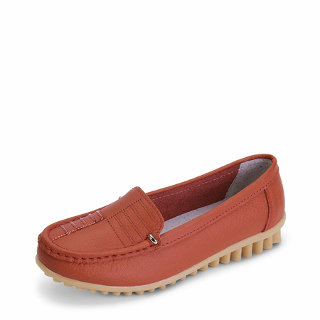 Red Slip-on Loafers Flat