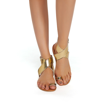 Gold Plain Design Sandals