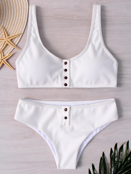 White Button Design Plain Spaghetti Bikini Set