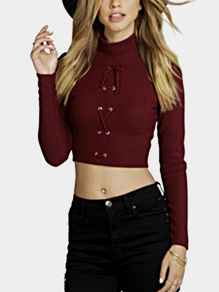Red Sexy Ribbed Lace-up Front Crop Top