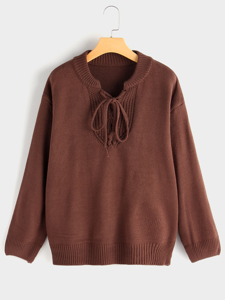 Coffee Pullover Tie-up Design Long Sleeves Knitting Sweater