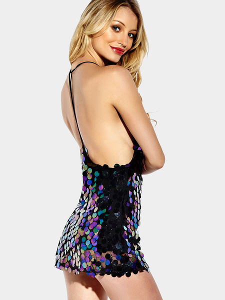 Sexy V-neck Backless Design Sequin Dress