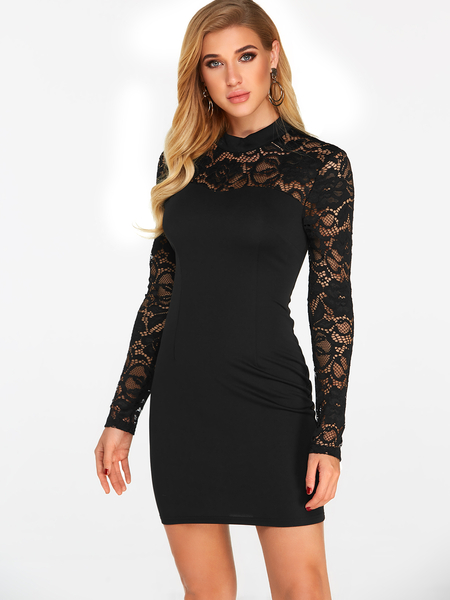 Black Cut Out Back Details Halter See Through Lace Insert Long Sleeves Dress