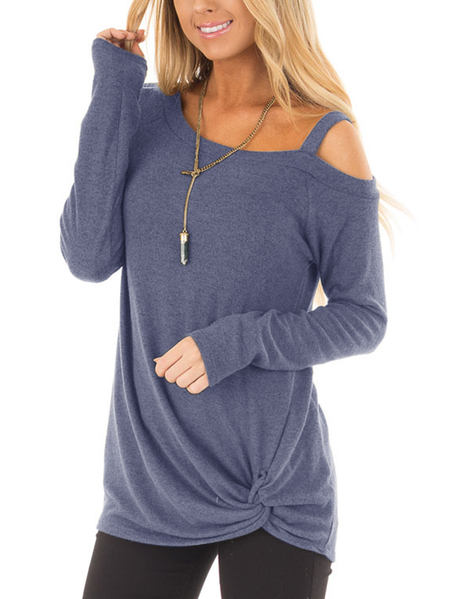 Dusty Blue Crossed Front Design Plain One Shoulder Long Sleeves T-shirts