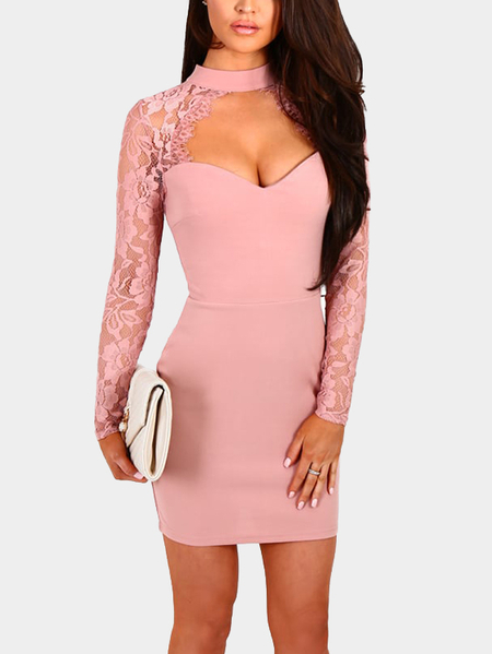 Pink Sexy Crew Neck Lace Insert Mini Dress With Cut Out Detail