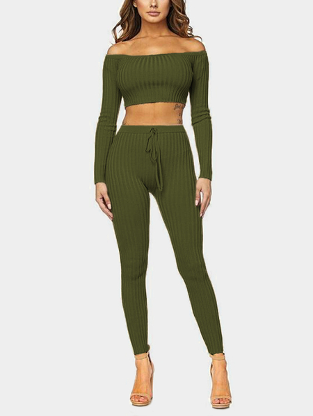 Army Green Bodycon Off Shoulder Crop Top & Drawstring Waist Pants Two Piece Outfits