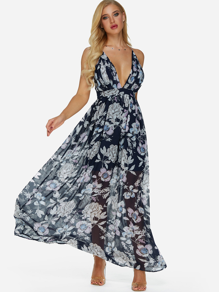 Backless Random Floral Print Deep V Neck Sleeveless Maxi Dress