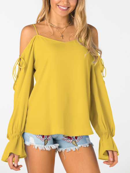 Yellow V-neck Cold Shoulder Lace-up Chiffon Blouse