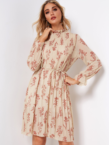 Beige Random Floral Print Frill Neck Bell Sleeves Self-tie Design Knee Length Dress