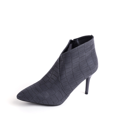 Yoins Grey Point Toe Stiletto Ankle Boots