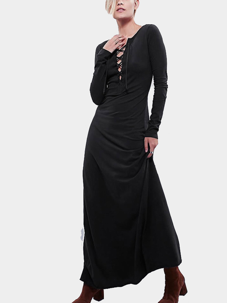 Lace Up Long Sleeves Maxi Dress