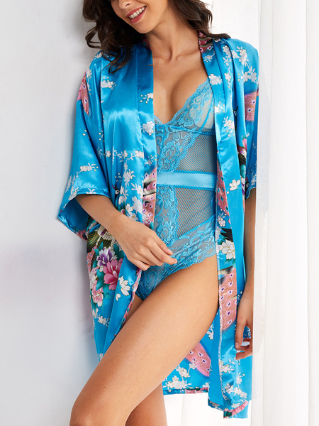 Lake Blue Floral Print Cross Over Half Sleeves Belt Design Pajama